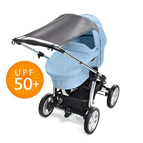Universal Sonnensegel für Kinderwagen Baby Sonnenschutz mit UV Schutz Beschichtung 50+ und Rollo-Funktion - Edles Sonnensegel (grau)