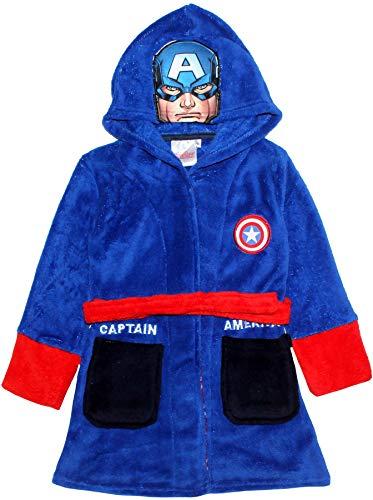 Marvel Avengers - Albornoz para niño (Pantha y Capitán América), color negro Azul azul 7-8 Años