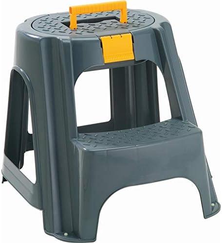 Levan Home Rimax 2-Step お買得 Plastic Step Stool in Storage with Gray 価格交渉OK送料無料
