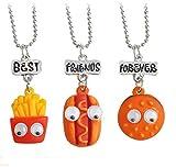 Davitu Children Best Friends Forever Cute Hamburgers Hot Dogs Food Pendant BFF 3 Necklace Friendship Jewelry Gifts for Kids 3PCS/Set