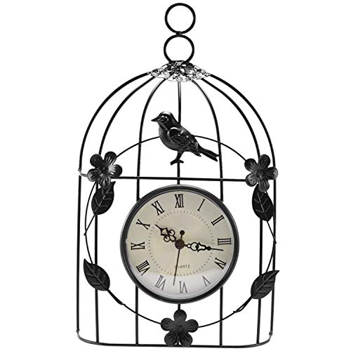 Yaootely Bird Cage Wall Clock Vintage Antique Style Decor Hanging-S