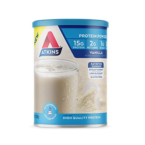 Atkins Gluten Free Protein Powder, Vanilla, Keto Friendly, 9.88 oz.