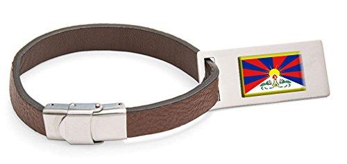 Select Gifts Tibet Fahne Leder Kofferanhänger Edelstahl Gravur Text