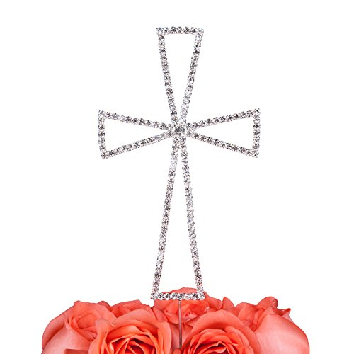 LOVENJOY Gift Box Pack Cross Rhinestone Crystal Cake Decoration Topper for Wedding Religious Baptism Christening First Communion Confirmation Silver (4.5)