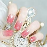 Edary Gradient False Nails Pink Square Press on Nails Full Cover Fake Nails 24pcs for Women