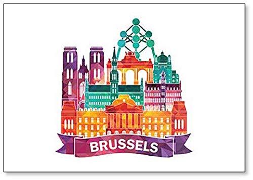 Ilustración de los lugares de interés de Bruselas – Imán clásico para nevera