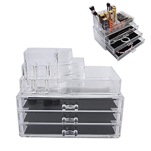 Organizador de maquillaje, acrílico transparente para escritorio caja de almacenamiento de exhibición de cosméticos estuche de maquillaje transparente soporte para barra de labios cajones apilable