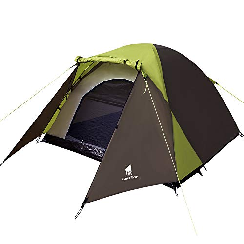 GEERTOP Duckbill 3-4 Person Tent Easy Set Up Waterproof Lightweight Tents Large with Sun Shelter Dome Tent for Family Beach Camping Hiking Outdoor