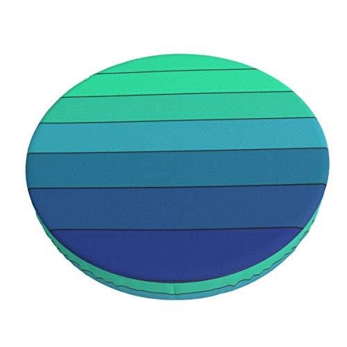 Funda de cojín de Silla de Barra Redonda Lavable extraíble de Cambio Gradual de Color Verde a Azul Funda de cojín de Taburete elástico de 14 Pulgadas