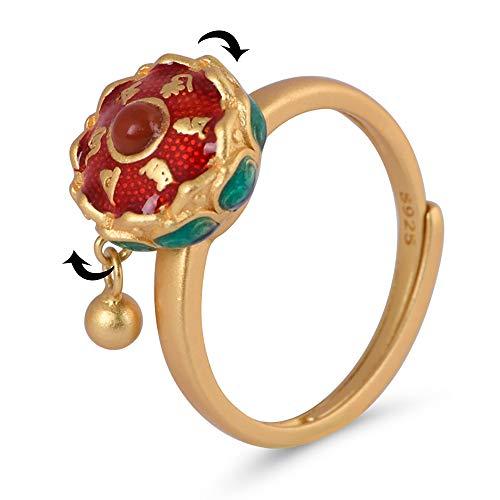 100% Real 925 Sterling Silver Rotating Rings for Women Buddhist Tibetan Prayer Wheel Lotus Ring OM Mantra Gold Finger Open Ring Good Luck Lady Bands
