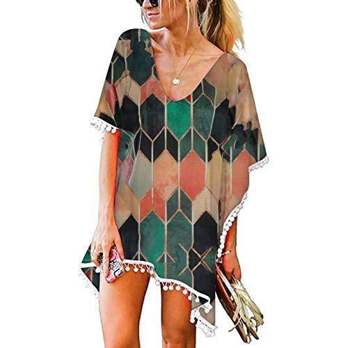 Kpasati Damen Sommer T-Shirts Tunika V-Ausschnitt Sandstrand Damen Oberteile Badeanzuganzug Cover up Top