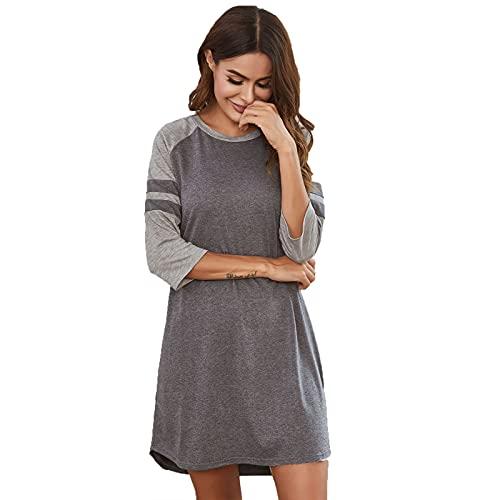 GAOHONGMEI Camisón largo para mujer, de manga corta, estilo kimono, casual, vestido de playa, longitud camisón, color gris, XL