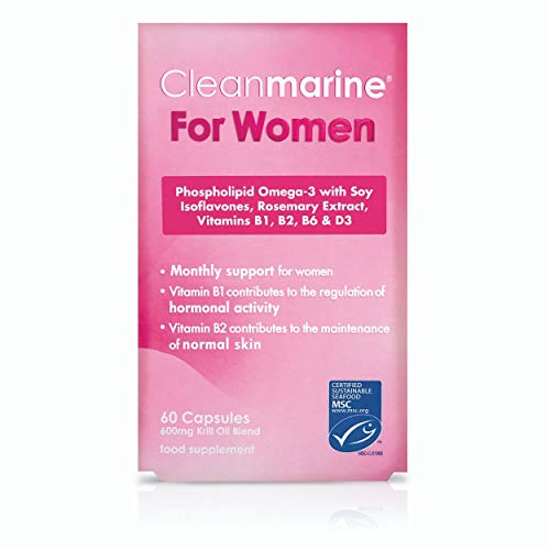 Cleanmarine for Women – Unique All in One Highly Absorbable Omega 3 with Added Vitamin B1, B2, B6 and D3 plus Rosemary Oil and Soy Isoflavones - Hormonal Support - 60 Capsules - 30 Servings