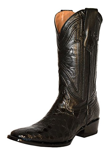 Ferrini Mens American Alligator Square Toe Western Cowboy Boots Mid Calf Low Heel 1in-2in - Black - Size 13 2E