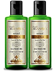 Neem and tea tree Face wash by khadi (pack of 2X210Ml Natural and chemical free face wash, anti bacterial and anti acne)