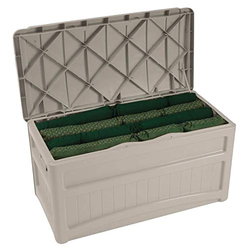 Suncast 73-Gallon Medium Deck Box - Lightweight Resin Indoor/Outdoor Storage Container and Seat for Patio Cushions, Gardening Tools and Toys - Store Items on Patio, Garage, Yard - Taupe