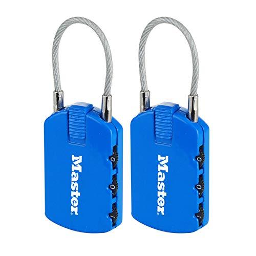 Master Lock 4684EURTCOL Confezione da 2 Lucchetto con combinazione ed etichetta porta-indirizzo, Colore casuale, 6.5 x 3 x 1.1 cm