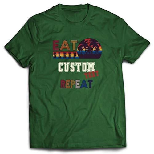 lepni.me Camisetas Hombre Repetición Comer Dormir Medida Diseño único Regalo Epoca (XX-Large Verde Oscuro Multicolor)