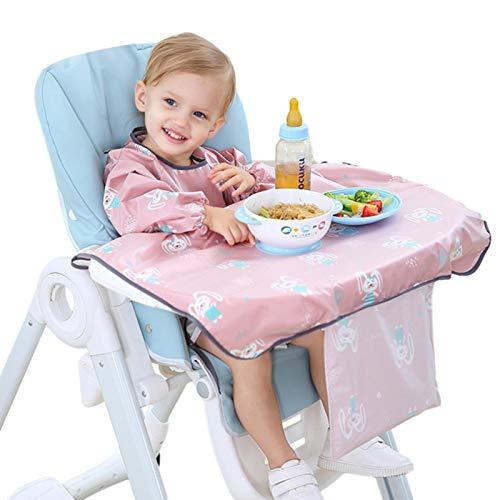 Foxlove Auffang Lätzchen Mit Ärmeln Ganzkörper Latz Baby Lätzchen Wasserdicht Einteiliger Baby-Latz-Overall Mit Tischdecke Baby-Langarm-Latz-Set Baby Latz Overall Mit Tischdecke