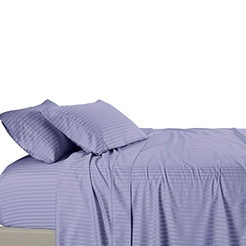 Royal Tradition Damask Striped 580-Thread-Count, 100-Percent Cotton King Size Bed Sheets Set, Periwinkle
