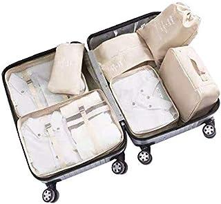 Adwaita 6 Set Packing Cubes, Travel Luggage Packing Organizers (Ivory)