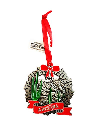 Arizona State Silver Pewter Ornament Christmas Souvenir Gift Holiday Cactus Decorations