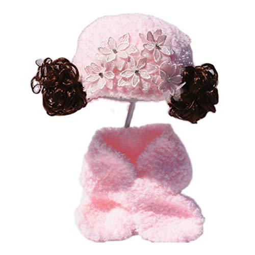 ZYSWP MZWJTZKD Otoño e Invierno Femenino bebé Peluca Sombrero bebé niños Coreano Princesa Sombrero de Encaje Flor Sombra Engrosamiento