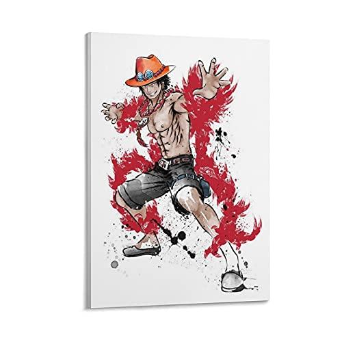 jizhuang Póster de anime y arte de pared, diseño de piratas con puño de fuego y sombrero de paja de Ace piratas, 20 x 30 cm