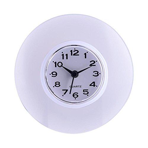 Saugnapf Wasserdicht Runde Mini Wanduhr Quarz Uhren Dekoration Für Badezimmer Küche Wohnzimmer Schlafzimmer(Weiß)