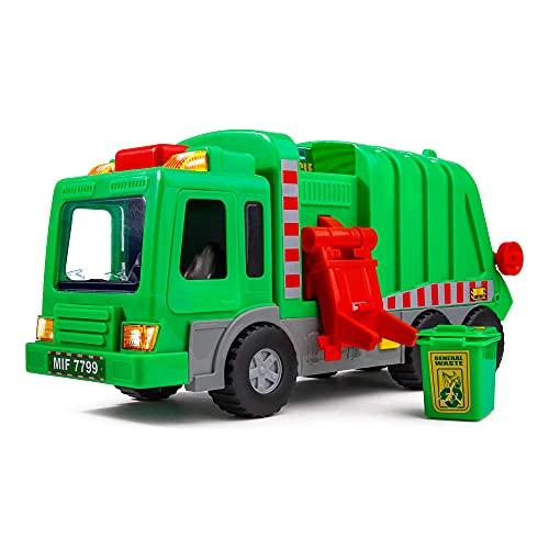 """Play Kids Kids 15"""" Giocattolo per Camion della Spazzatura, Giocattolo per Camion della Spazzatura, con luci, Suoni e Coperchio della Spazzatura Manuale, Gioco interattivo per l'apprendimento precoce"""