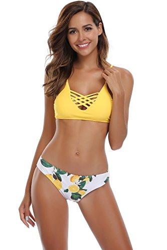 SHEKINI Damen Crossover Netz Gepolstert Bikini Set Zweiteilige Strandkleidung Bandeau Strandmode Blumen Druck Bikinihose (Small, Muster A: Gelb)