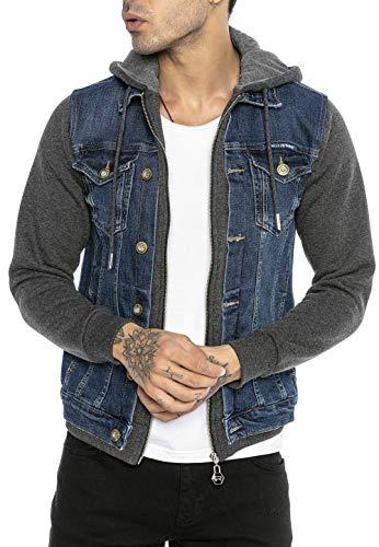 Redbridge Giacca a jeans da Uomo con Cappuccio Giubbotto da mezza stagione Denim Blu scuro/Grigio scuro L