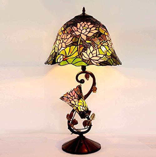 Lámpara Escritorio Lámpara de mesa, estilo , vidrieras, lámpara de lectura con luz nocturna para dormitorio, sala de estar, base de metal vintage, lámpara de noche decorativa, 16 pulgadas de ancho, 73
