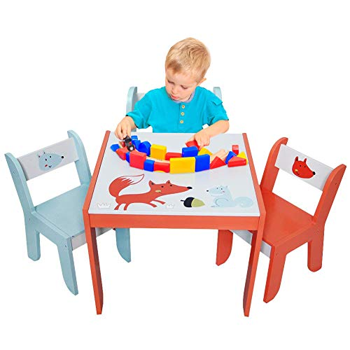 labebe Wooden Activity Table Chair Set, Toddler Table for 1-5 Years