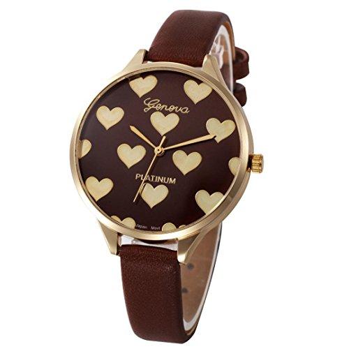Xinantime Relojes Mujer,Xinan Reloj de Pulsera Analógico de Cuarzo Cuero Imitación (Marrón)