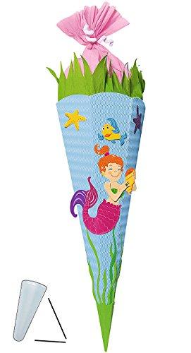 alles-meine.de GmbH BASTELSET Schultüte -  Meerjungfrau Nixe  - 85 cm - mit / ohne Kunststoff Spitze - Zuckertüte zum selber Basteln - 6 eckig Mädchen Fische Seestern blau Pupp..