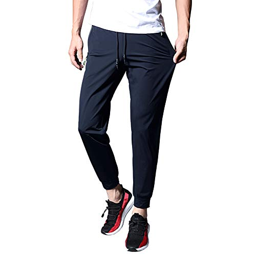 Ancient Star Mens Hiking Joggers Sweatpants Light Breathable Quick Dry Running Sports Pants with Zipper Pockets(3509Blue M)