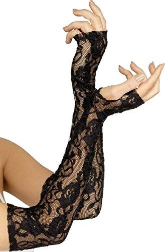 Femme Long Dentelle Noir Gothique Mitaines Déguisement Halloween Gants