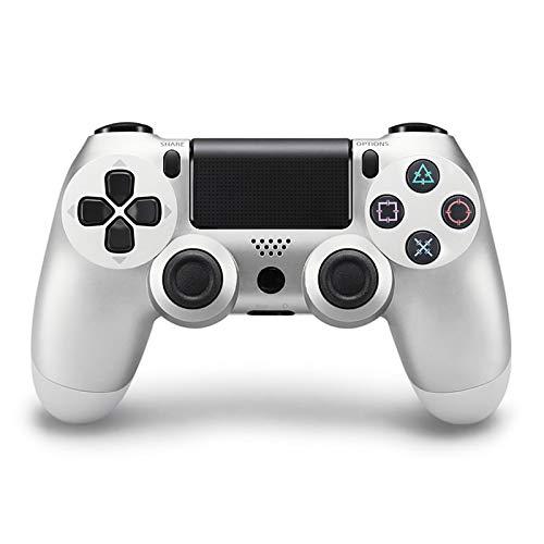 Controller für PS4, Kabelloser Controller mit Vibrationsmotoren und SIXAXIS-Sensor, mit 3,5-mm-Audiobuchse, für PS4/PS4 Slim/PS4 Pro - Silber