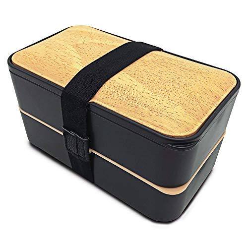 Lunch Delice   Lunch Box   Bento Box Noir   Japonais Design 3 Couverts   Boite Repas Hermétique 2 Compartiments 1200 ML   Micro-Ondes & Lave-Vaisselle   Boîte Déjeuner Bois Adultes ou Enfants Premium