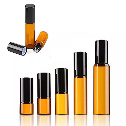 Llevar 5pcs Botellas Roll On Cristal para Aceites Esenciales 1-10ML,con Roll-on Bola de Acero Inoxidable,para Aceites Esenciales,Aromaterapia,Bálsamo Labial,Fragancia-Frasco Perfume Recargable Regalo