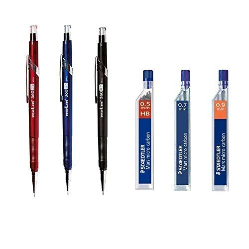 Pack/Set-3 Portaminas Metálico 0,5-0,7-0,9 HB + 3 Tubos de 12 Minas Staedtler...