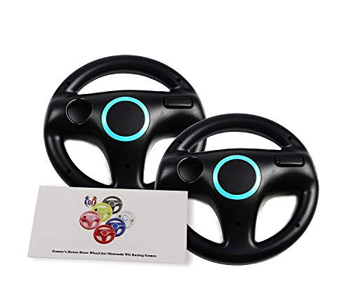 GH 2 Pack Mario Kart 8 Racing Wheel for Nintendo Wii, Steering Wheel for Wii (U) Remote Plus Controller - Bomb Black (6 Colors Available)