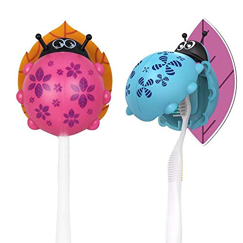 Heasa Toothbrush Holder Wall Mounted, Animal Kids Toothbrush Holder (Blue & Purple Ladybug, 2 PCS)