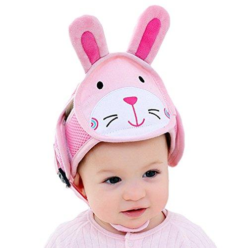 DEMU Sicherheitshelm für Baby Kollisionsschutz Kopfschutz Babyhelm Kopfschutzmütze Pink Hase