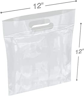 APQ Pack of 50 Die Cut Zip Lock Bags 12 x 12. Clear Polyethylene Handle Bags 12x12. 1 Gallon. FDA, USDA Approved, 3 Mil. Reclosable Storage Bags. 3 inch Lip.Zipper Locking Poly Plastic Bags for Goods