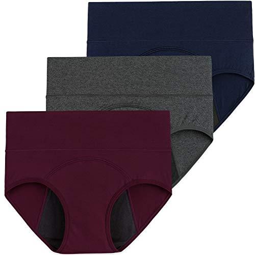 INNERSY Damen Menstruationsunterwäsche Baumwolle Periodenslips Inkontinenz Pantys 3 Pack (48, Weinrot/Marineblau/Grau)