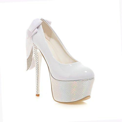 XIE Dame High Heels Dicke untere Stilett-Pumpen-Schuhe Wasserdichte Plattform-Partei-Schuhe Rhinestones-Kleid Bowknot-Schuhe Glänzendes Lackleder