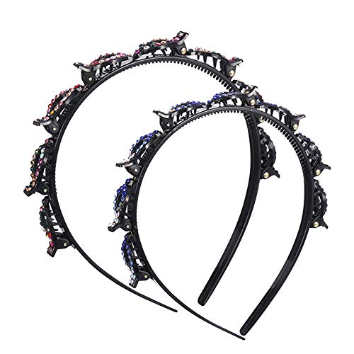 AKlamater Double Bangs Hairstyle Hairpin, 2 Stück strass Hollow Woven Frisurenhilfe Haarreif mit Klammern fr Frauen