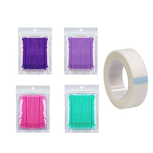 400 Stück Einweg Wattestäbchen, Einweg Mascara Applikator Micro Brush, Wimpernverlängerung Kleber Removal Lashes Graft Tools für Make-up, Oral und Sauberkeit(Mit Klebeband)